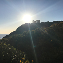 temple of poseidon w beam of light