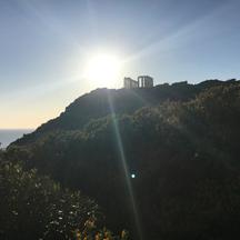temple of poseidon w beam of light